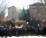 A protest action against the compulsory pension payments took place in front of the RA NA building