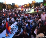 "Members of ""Dem Em"" civil initiative started a sit-in on the France Square in Yerevan"