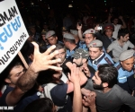 "A clash took place between the police and the members of ""Dem Em"" civil initiative during the protest march in Yerevan"